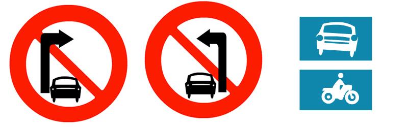 biển báo cấm rẽ, làn đường